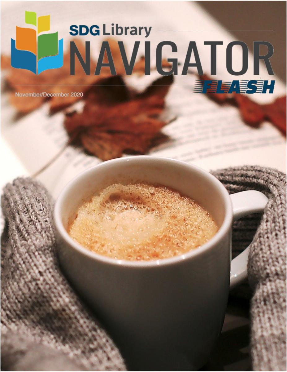 Newsletter cover with hands holding a coffee