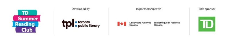 Logos of Summer Reading Club, Toronto Public Library, Library and Archives of Canada and TD