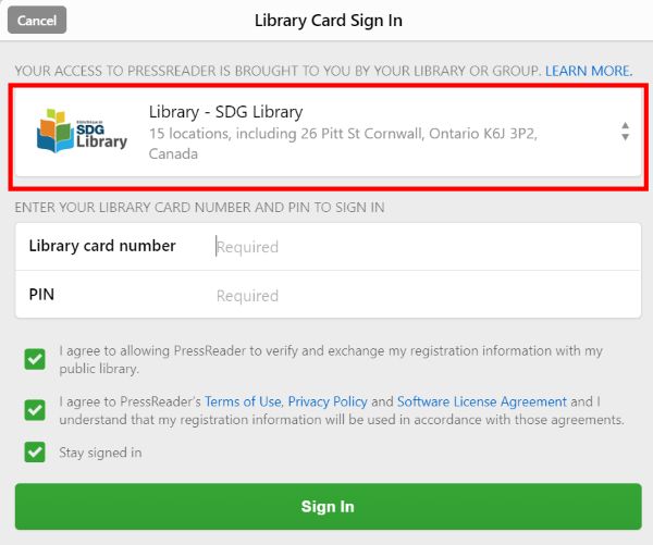 Library card sign in screenshot