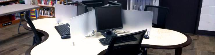 Several computers on a table