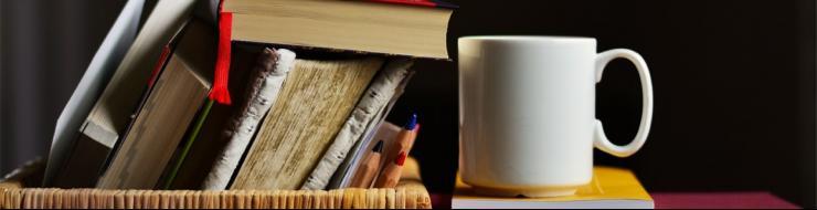 Books and a coffee mug